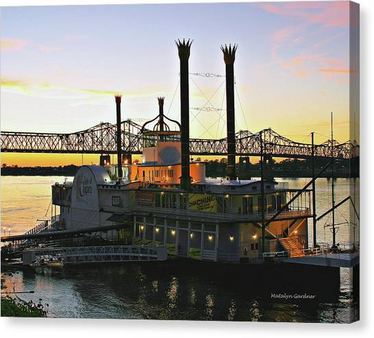 Mississippi Riverboat Sunset Canvas Print