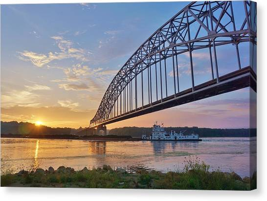 Canvas Print - Mississippi Sunrise Crossing by Red Cross