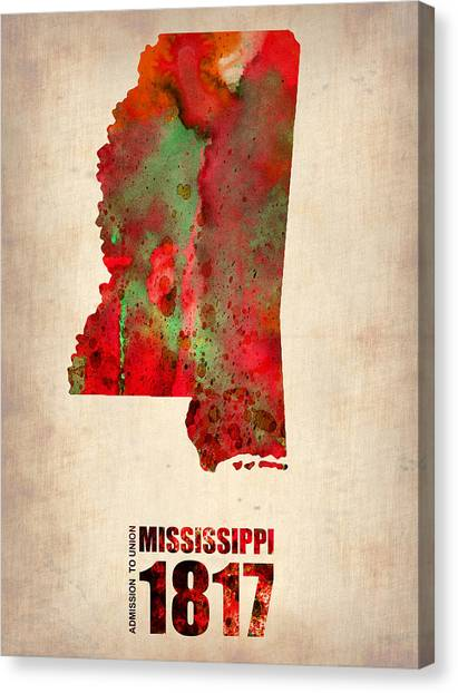 Mississippi Canvas Print - Mississippi Watercolor Map by Naxart Studio