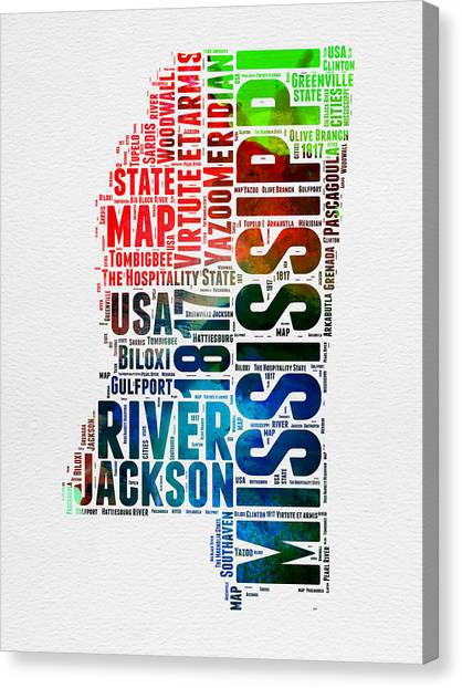 America Map Canvas Print - Mississippi Watercolor Word Cloud  by Naxart Studio