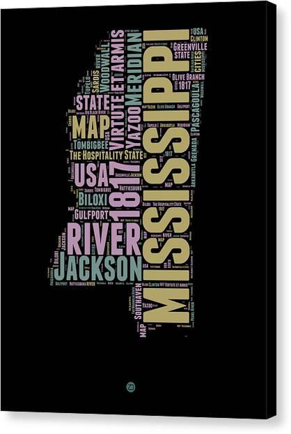 America Map Canvas Print - Mississippi Word Cloud 1 by Naxart Studio