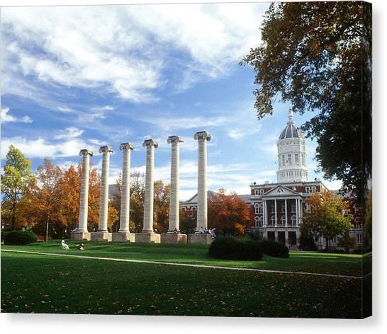 University Of Missouri Canvas Print - Missouri Columns And Jesse Hall by University of Missouri