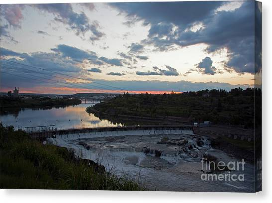 Missouri River Black Eagle Falls Mt Canvas Print