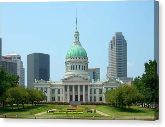 Capitol Building Canvas Print - Missouri State Capitol Building by Mike McGlothlen