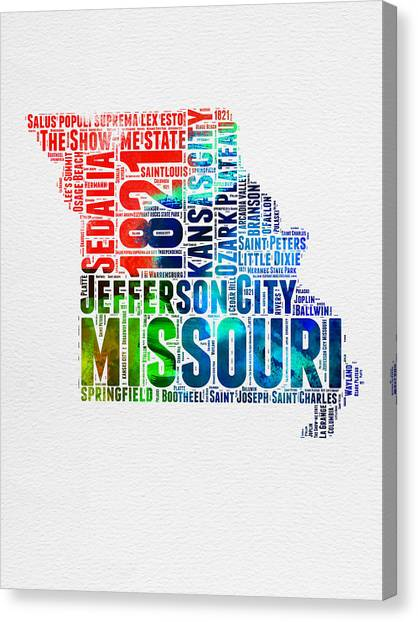 Missouri Canvas Print - Missouri Watercolor Word Cloud Map  by Naxart Studio