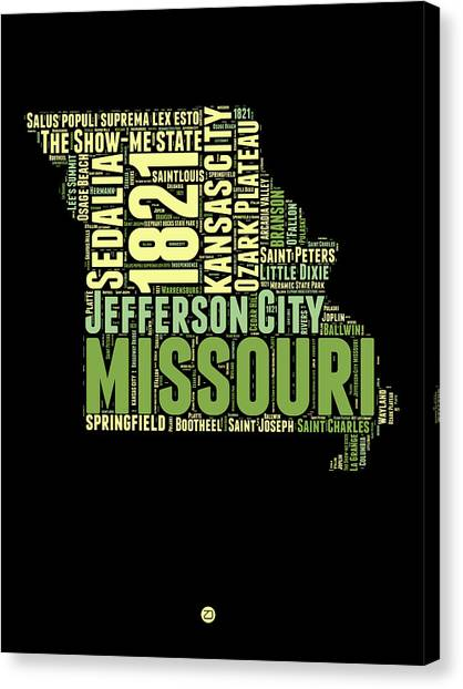 Missouri Canvas Print - Missouri Word Cloud Map 1 by Naxart Studio