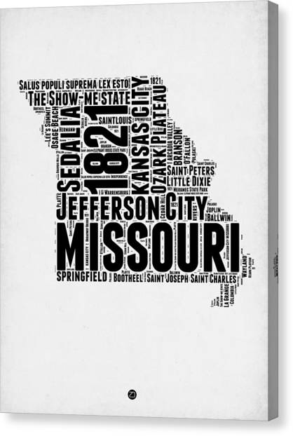 Missouri Canvas Print - Missouri Word Cloud Map 2 by Naxart Studio