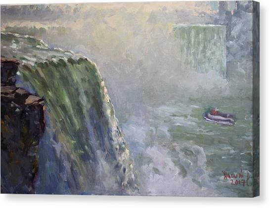Horseshoe Falls Canvas Print - Mist At Horseshoe Falls  by Ylli Haruni