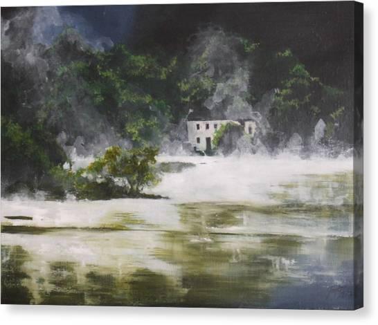 Mist On Derwent Water Canvas Print by Jane  Simpson