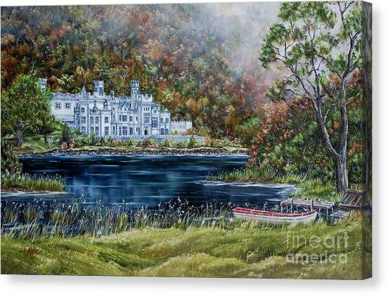 Mist Over Kylemore Abbey Canvas Print by Avril Brand