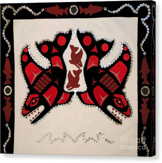 Canvas Print featuring the tapestry - textile Mistamekwakii  - Whales - Northern Cree by Chholing Taha
