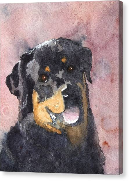 Rottweilers Canvas Print - Mister Bob by Ally Benbrook