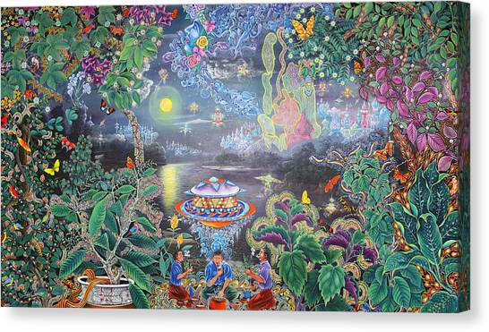 Canvas Print featuring the painting Misterio Profundo by Pablo Amaringo