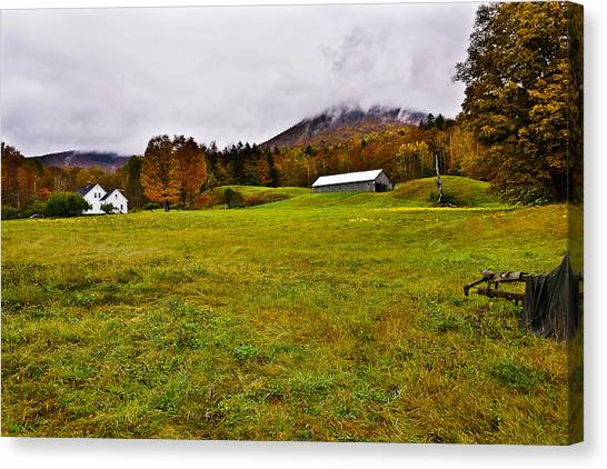 Misty Autumn At The Farm Canvas Print