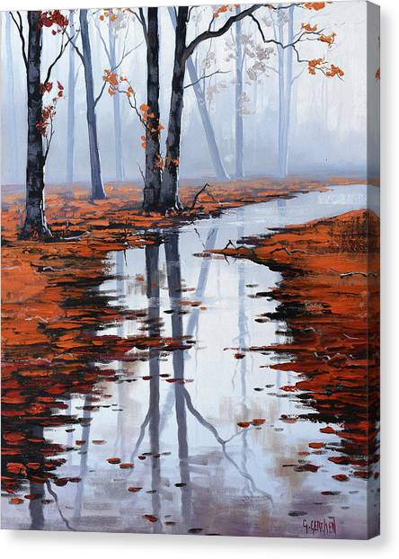Amber Canvas Print - Misty Autumn Colors by Graham Gercken