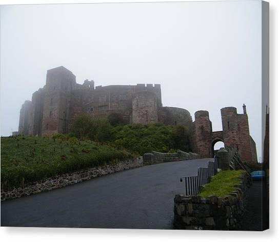 Misty Bamburgh Castle Canvas Print