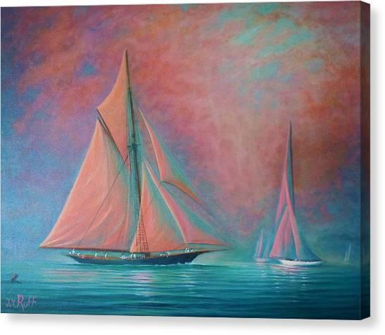 Misty Bay Rendevous Canvas Print by Joseph   Ruff