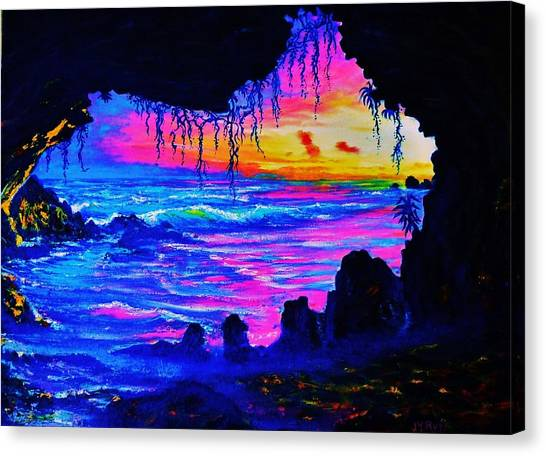 Misty Cave Sunset Canvas Print by Joseph   Ruff