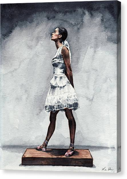 Ballet Shoes Canvas Print - Misty Copeland Ballerina As The Little Dancer by Laura Row