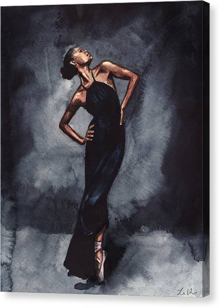 Ballet Shoes Canvas Print - Misty Copeland Ballerina Dancer In A Black Dress by Laura Row