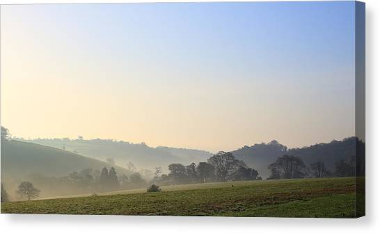 Misty Dawn Over The Cornish Countryside Canvas Print