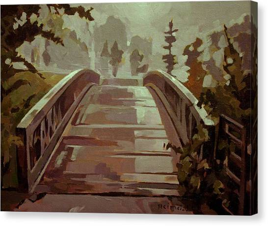 Misty Footbridge Canvas Print