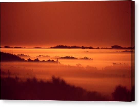 Misty Meadow At Sunrise Canvas Print