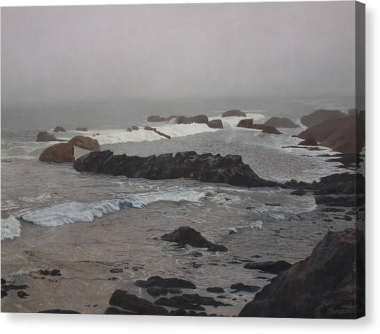 Misty Morning At Ragged Point, California Canvas Print