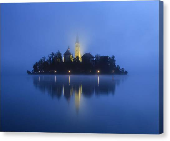 Misty Morning Lake Bled Slovenia Canvas Print