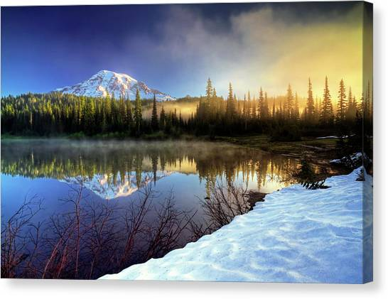 Misty Morning Lake Canvas Print