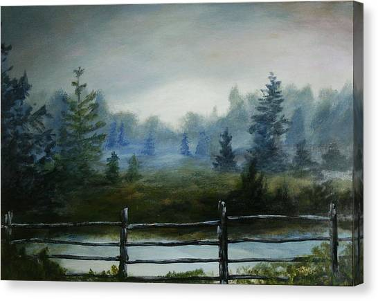 Misty Morning Canvas Print by Rusty W Hinshaw