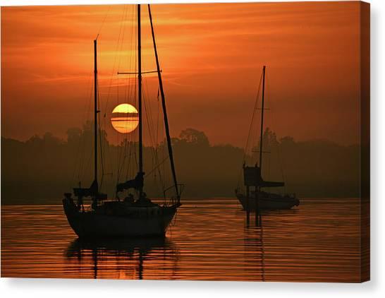Misty Morning Sunrise Canvas Print