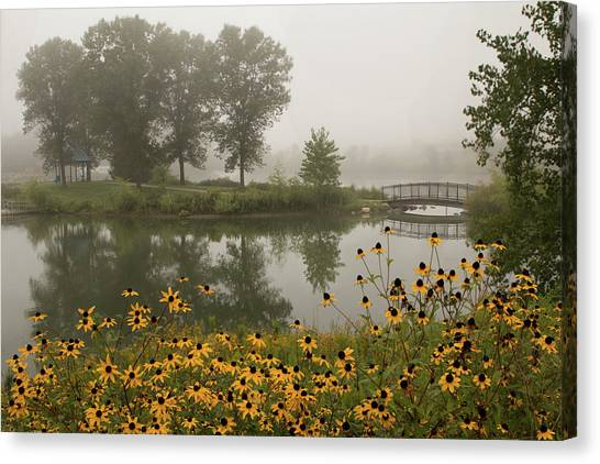 Misty Pond Bridge Reflection #3 Canvas Print