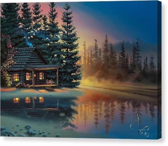Quiet Canvas Print - Misty Refection by Al Hogue