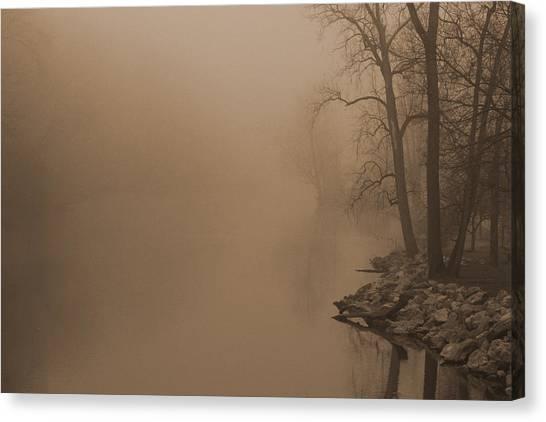 Misty River - Vintage  Canvas Print