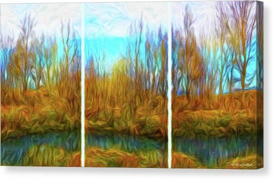 Misty River Vistas - Triptych Canvas Print