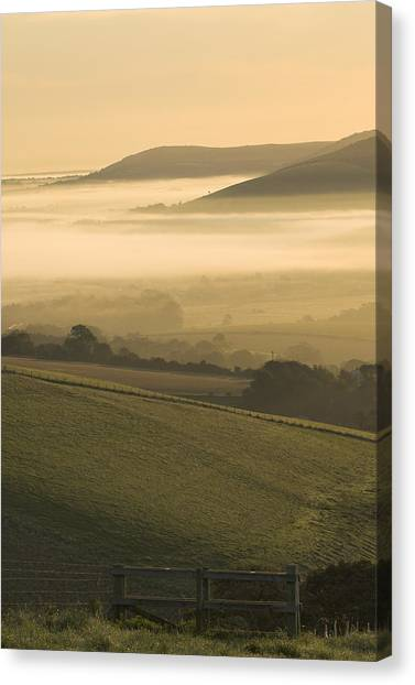 Misty South Downs Canvas Print