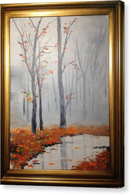 Misty Stream In Autumn Canvas Print
