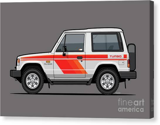 Offroading Canvas Print - Mitsubishi Pajero Montero Shogun 3 Door Turbo Diesel by Monkey Crisis On Mars