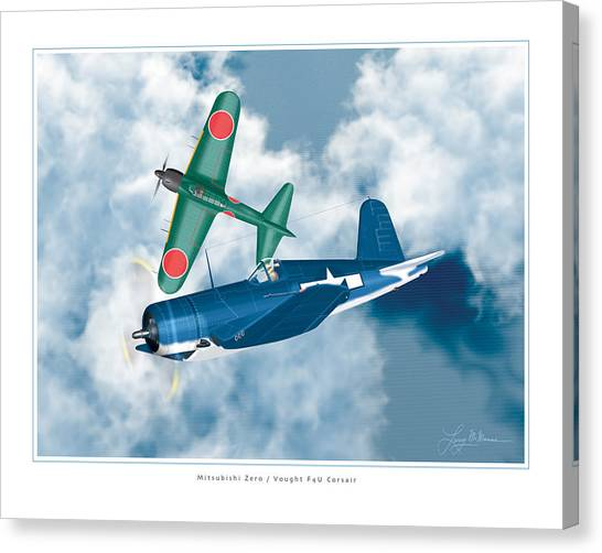 Mitsubishi Zero And Vought F4-u Corsair Canvas Print by Larry McManus