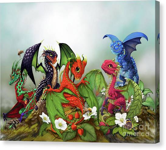 Blueberries Canvas Print - Mixed Berries Dragons by Stanley Morrison