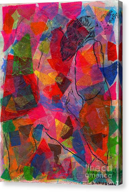 Matting Canvas Print - Mixed Media Man by Debbie Davidsohn