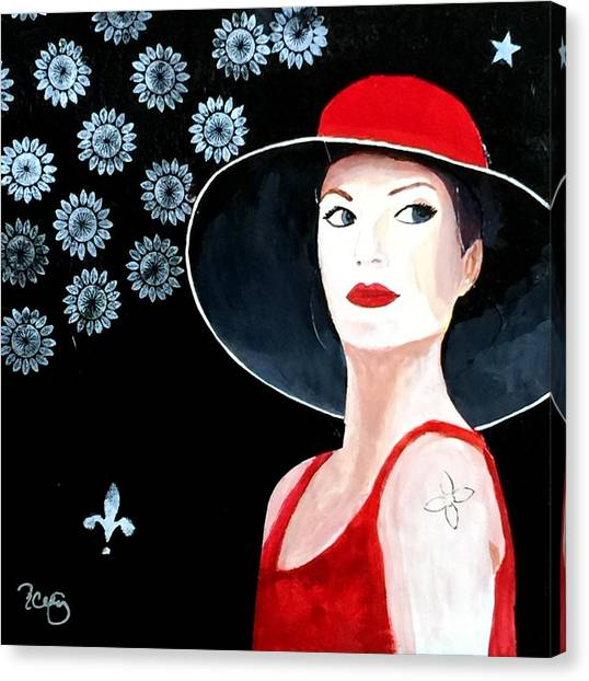 Mixed Media Painting Woman Red Hat Canvas Print