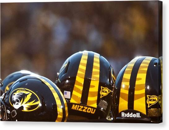Sec Canvas Print - Mizzou Football Helmet by Replay Photos