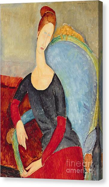 Hairstyle Canvas Print - Mme Hebuterne In A Blue Chair by Amedeo Modigliani