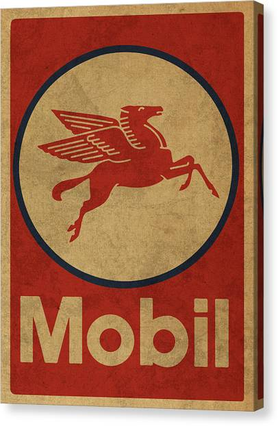 Oil Canvas Print - Mobil Oil Gas Station Sign Vintage Art by Design Turnpike