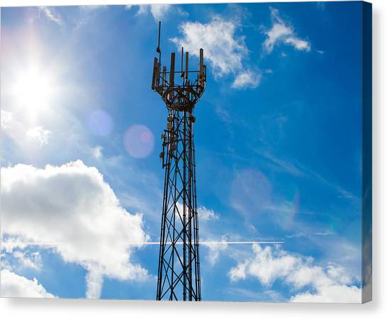 Canvas Print - Mobile Phone Mast With A Blue Sky Behind by Fizzy Image