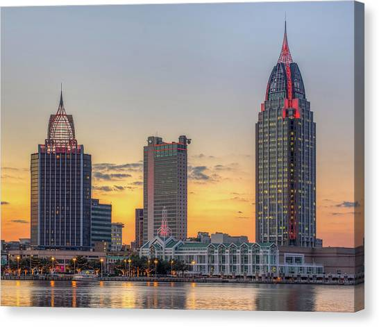Mobile Skyline At Sunset Canvas Print