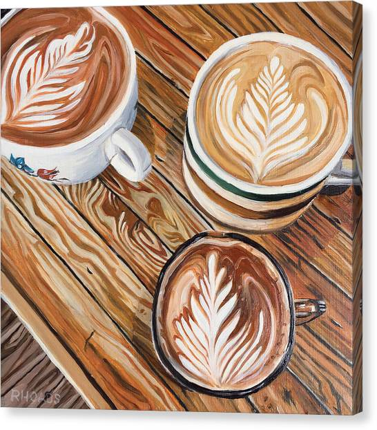 Canvas Print featuring the painting Mocha Trinity by Nathan Rhoads