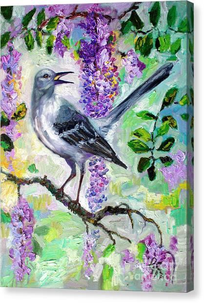 Mockingbird Song In Wisteria Canvas Print